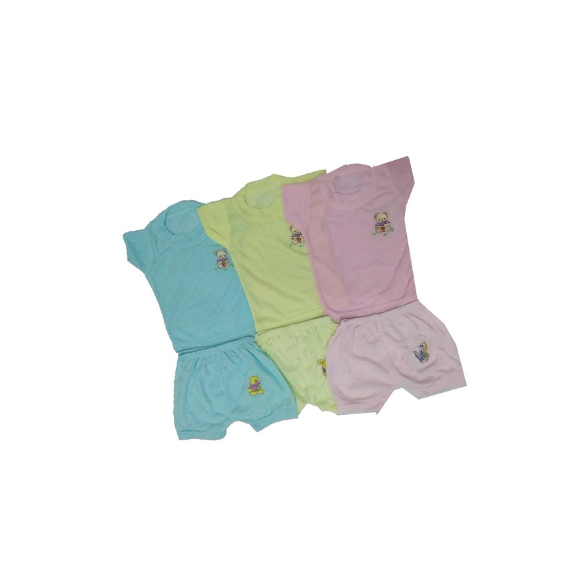 Kehebatan Bayie 12 Pcs 1 Lusin Celana Panjang Bayi Warna Lily Umur 0 Pendek Anak Perempuan 3 Set Setelan Baju Lengan
