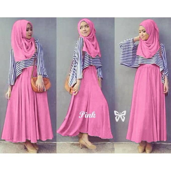 Flavia Store Maxi Dress Set 3 in 1 FS0038 - PINK / Gamis / Gaun Panjang