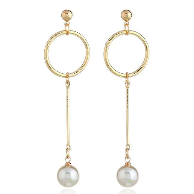 LRC Anting Tusuk Elegant Gold Color Round Shape Decorated Earrings