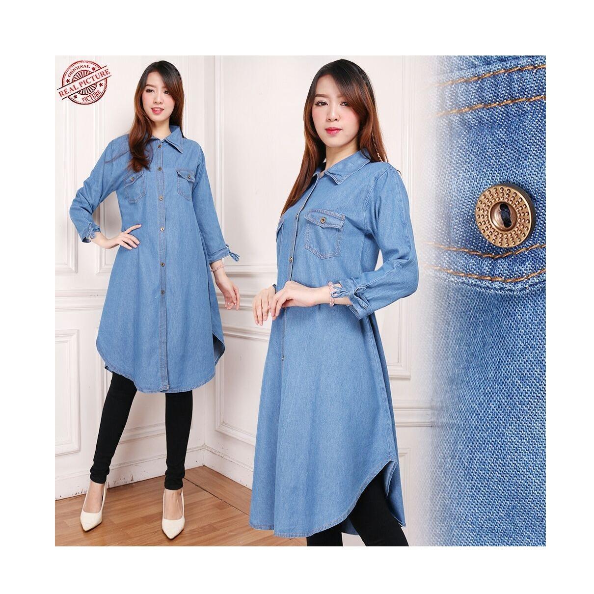 Cj collection Atasan blouse kemeja tunik jeans wanita jumbo long tunik shirt Rani