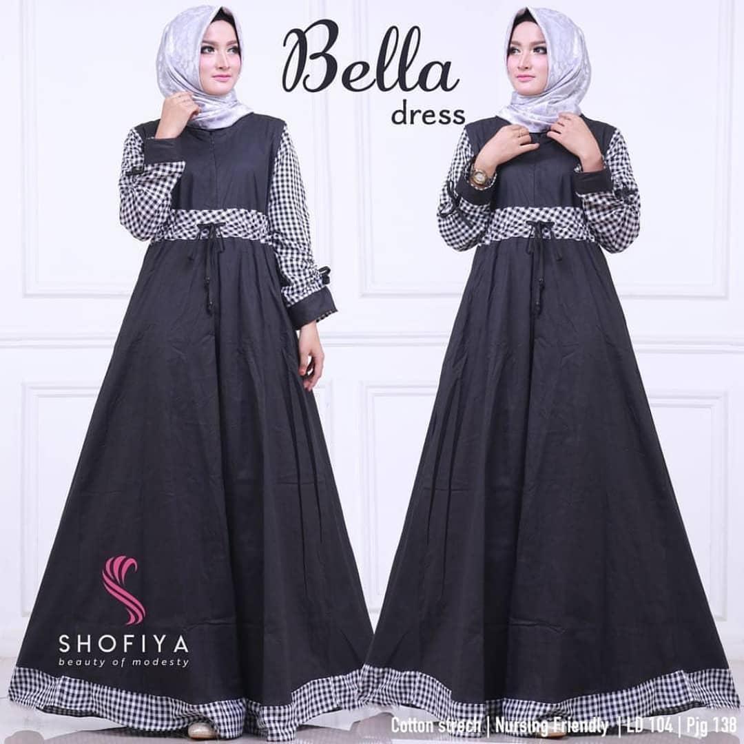 TOF Gamis Wanita Gamis Syari Dress Wanita Muslim Murah BELLA DRESS