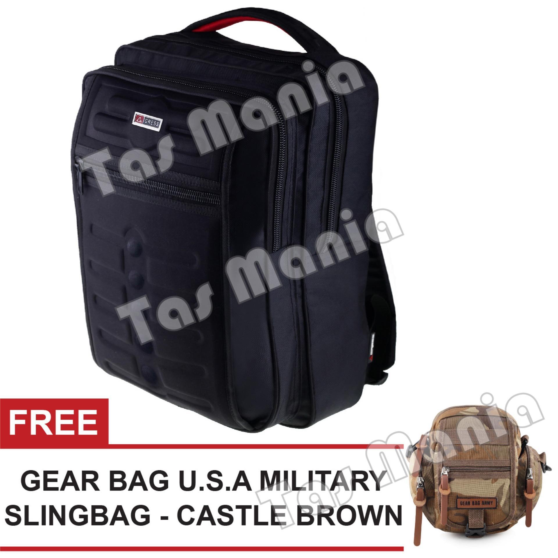 Tas Ransel Gress Emboss Tas Laptop Backpack - Hitam + FREE Tas Selempang U.S.A Military -