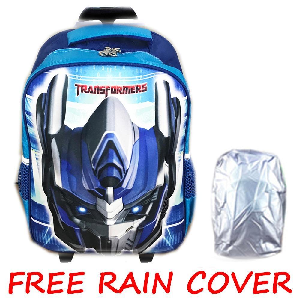 BGC Transformer Optimus Prime + Rain Cover 3D Timbul Hard Cover Tas Troley Sekolah Anak SD