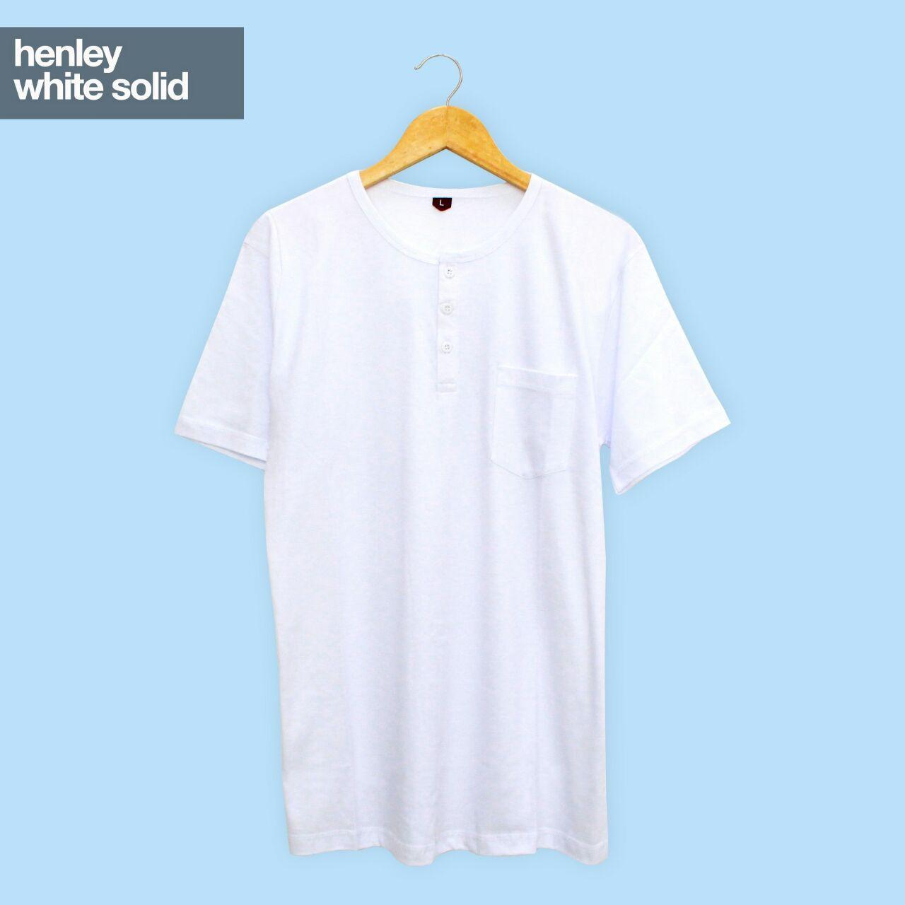 Baju Kaos Polos Tangan Pendek Saku Kancing / Henley White Solid Putih