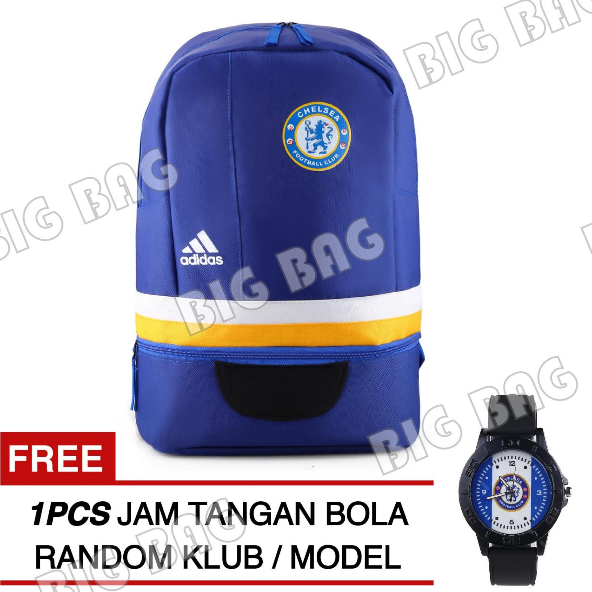 Tas Ransel Adidas Bola Pria Chelsea FC Laptop Backpack Men Soccer Editions - Blue + Raincover