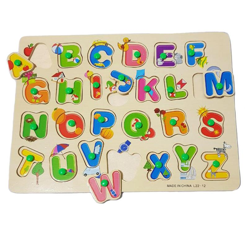 Kayla Org Mainan Edukasi Puzzle Knob Hijau Huruf Besar Gambar