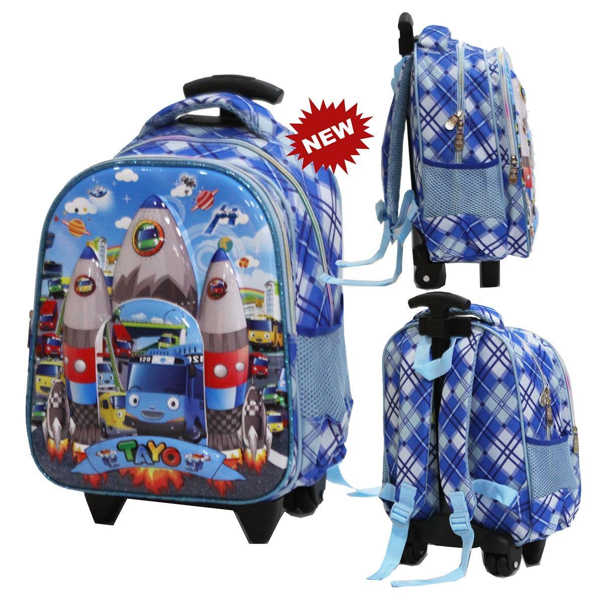 Onlan Tas Trolley Anak Sekolah TK Karakter Anak Laki Laki TAYO 6D Timbul Import - Biru