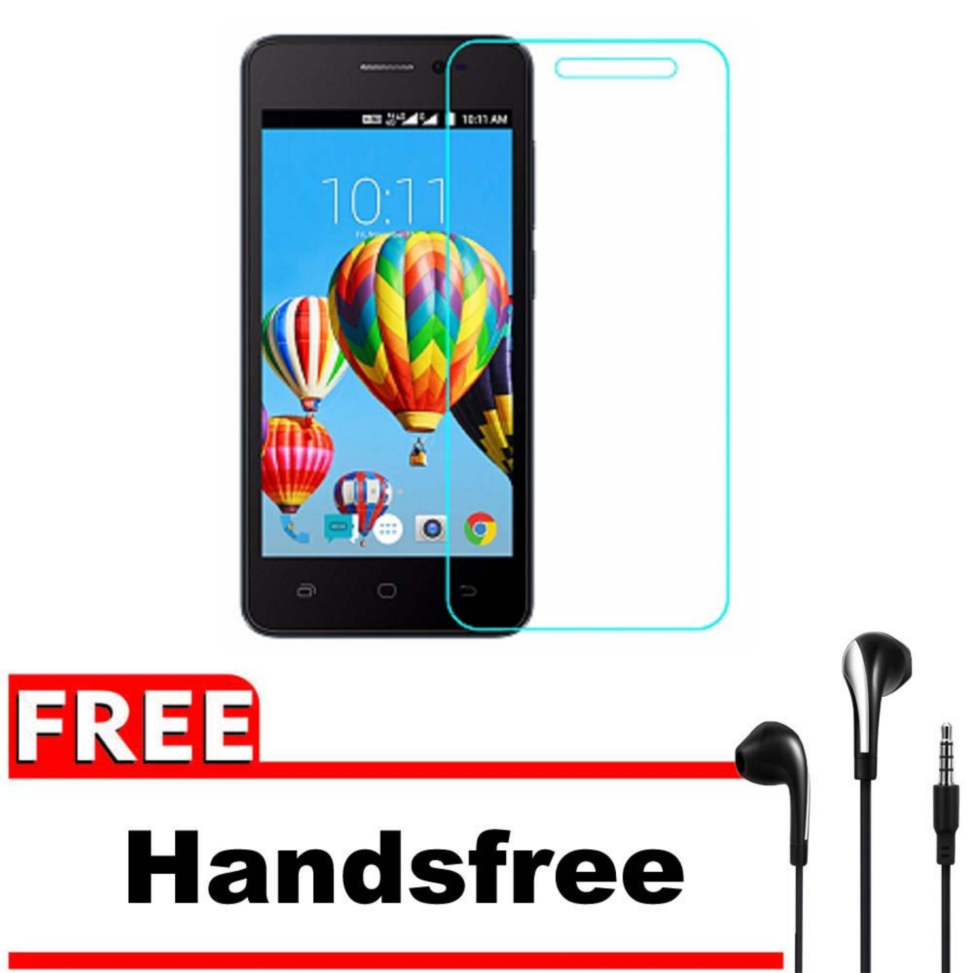 Vn Smartfren Andromax A Tempered Glass 9H Screen Protector 0.32mm + Gratis Free Handsfree Earphone
