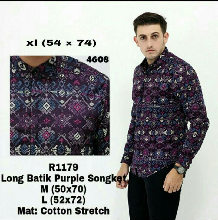 bajuku murah long purple batik songket R1179 kemeja tangan panjang kerah lipat long slevees short slevees