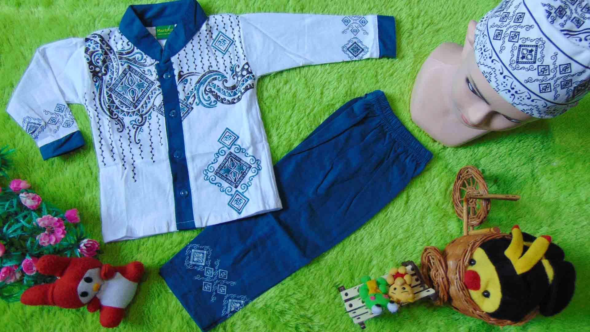 kembarshop - PLUS PECI setelan baju koko muslim anak bayi laki-laki cowok newborn 0