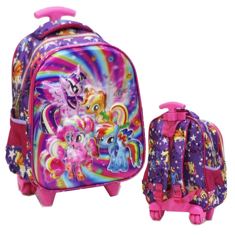 Onlan Tas Trolley Anak Sekolah TK Import Motif 5D Timbul Unik Karakter Anak Perempuan - Purple