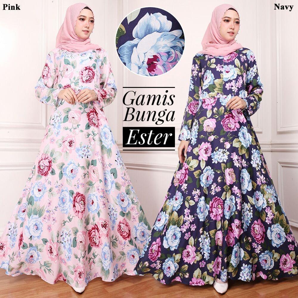 Gamis Katun / Gamis Maxi DRess Katun Ester Warna Pink Motif Bunga No Pasmina