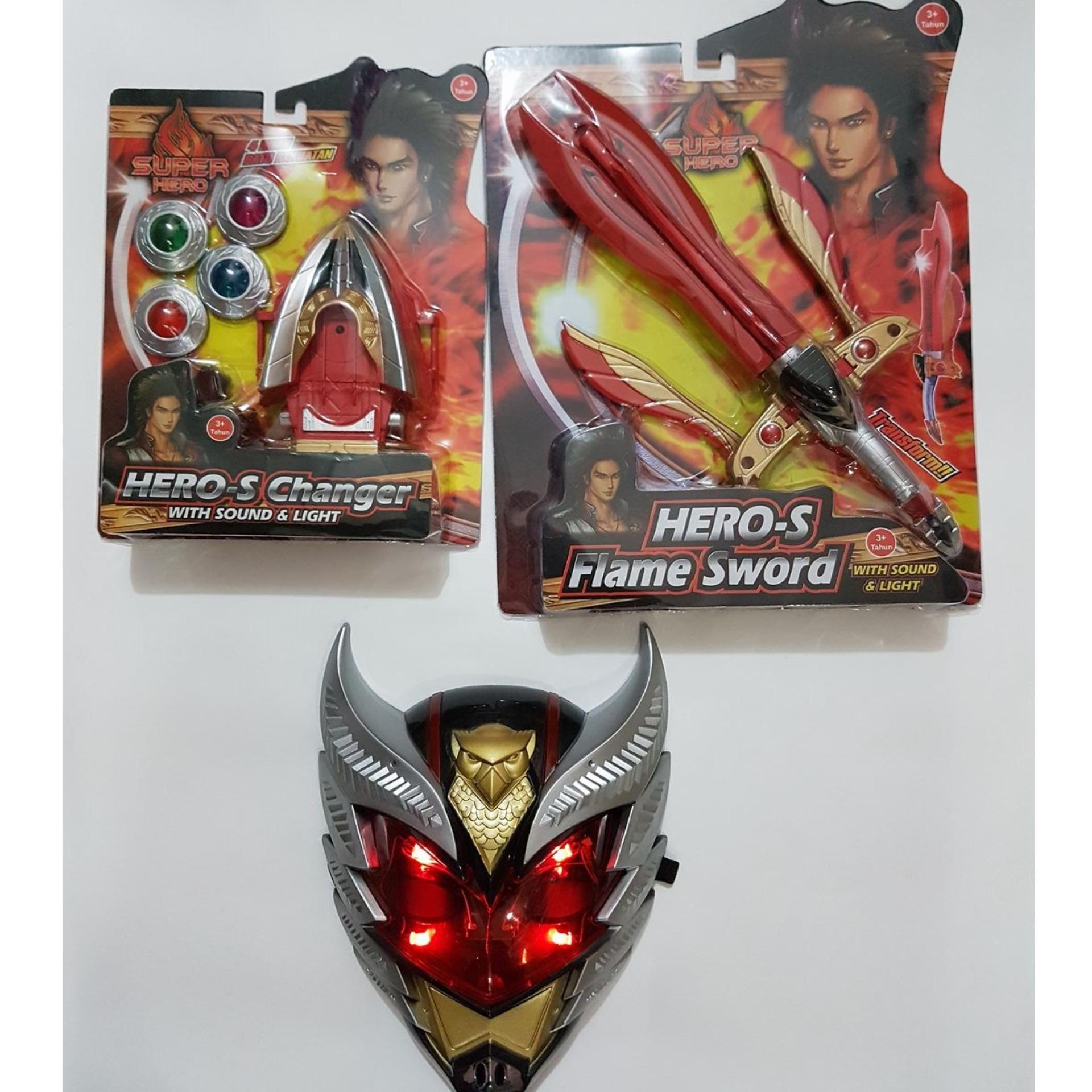 Paket Topeng Bima-X Lampu Lengkap Pedang Merah Dan Jam X-Changer