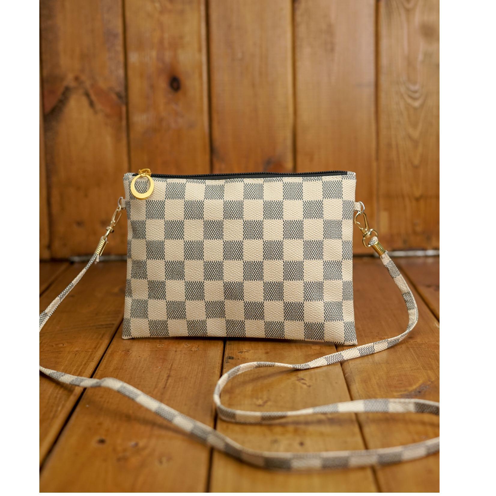 Zelig Official Tas selempang wanita motif kotak-kotak/ tas import fashion wanita/Dompet