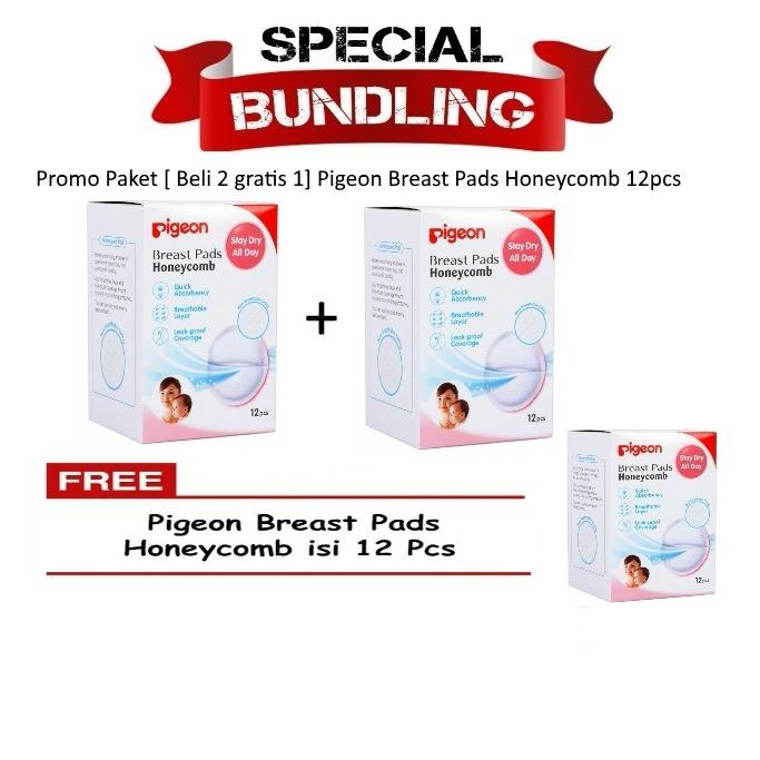 Promo Paket [Beli 2 Gratis 1] Pigeon Breast Pad Honeycomb isi 12pcs - Breast