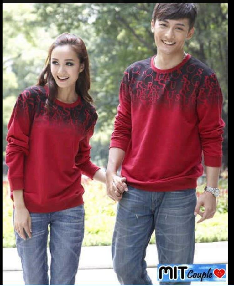 Sweater Couple / Sweater Pasangan / Baju Couple / Baju Pasangan Abjad Merah