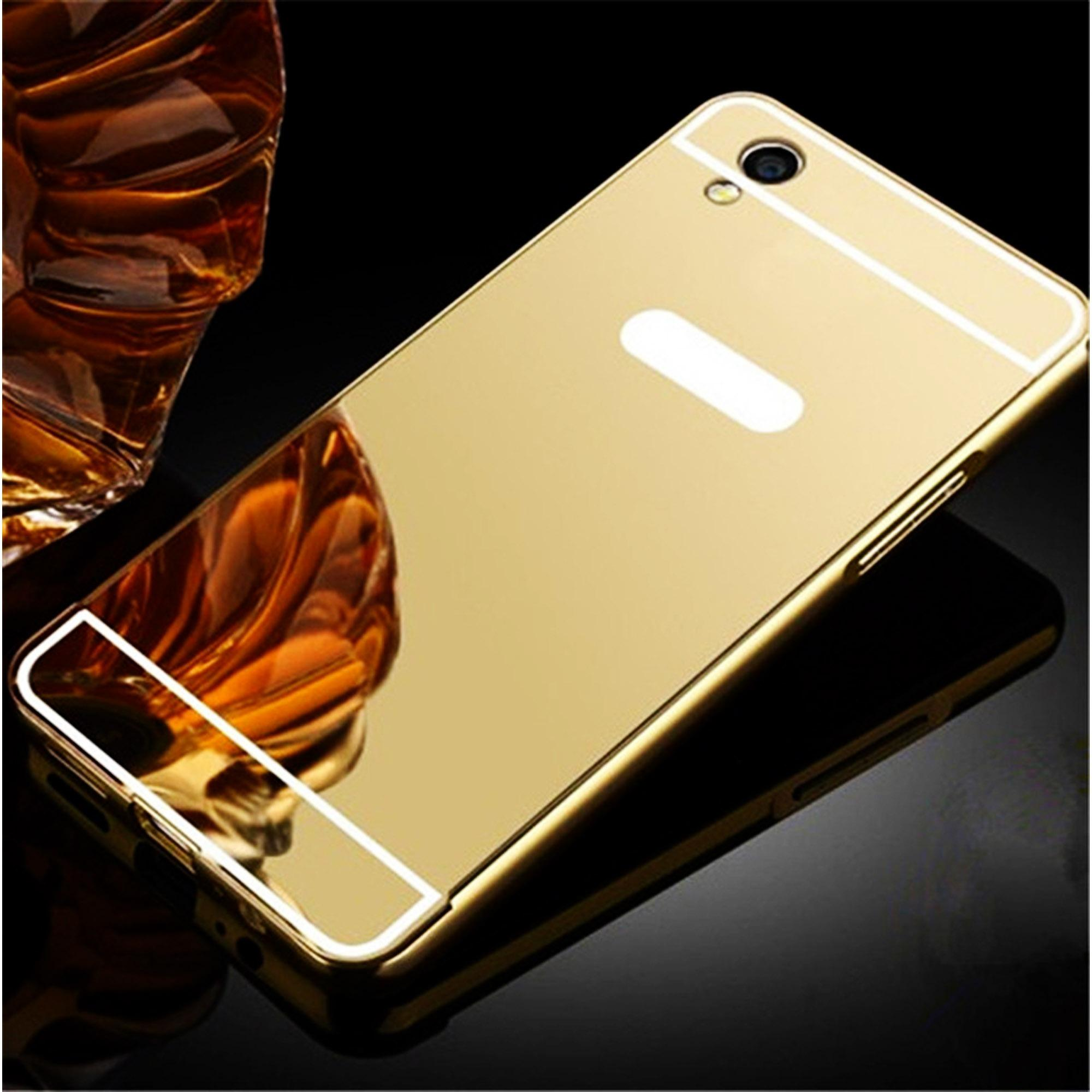 Marintri Case Oppo A37 Luxury Mirror Case Gold