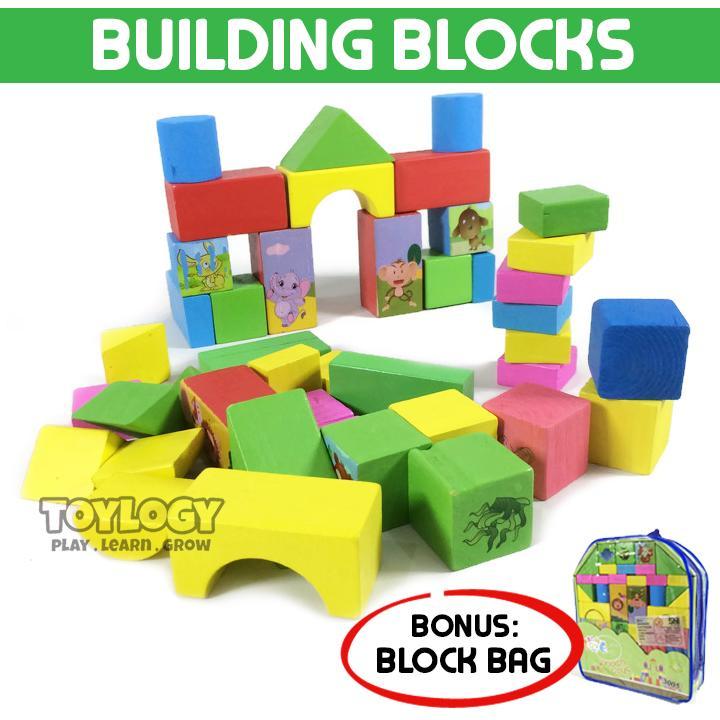 Toylogy Mainan Edukasi Anak SNI Wooden Building Block Blocks Balok Bangun Kayu .