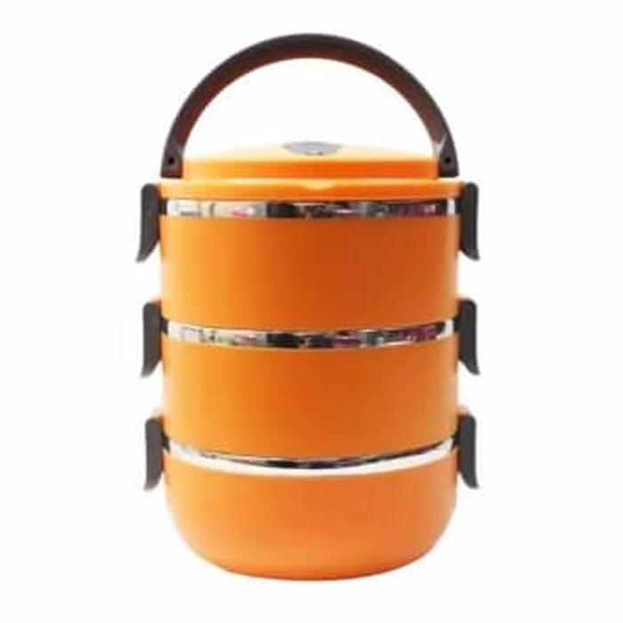 Rantang 3 susun polos lunch box tempat makan lauk sayur stainless - Orange