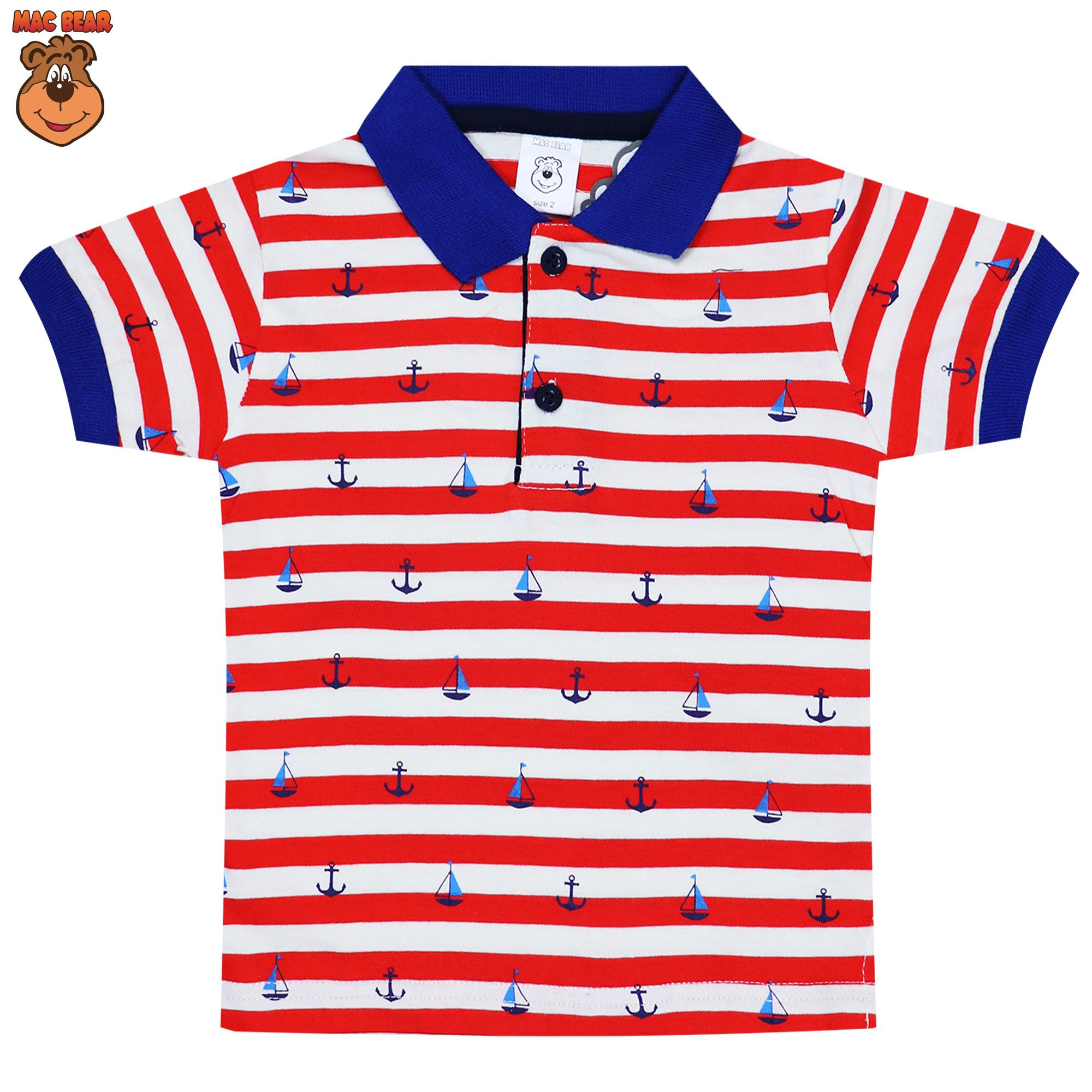 Macbear Baju Polo Anak Cool White Stripes On Red Size 5 Daftar De5 1805 Junior Kemeja Lengan Panjang 3 Stars Blue 8 Biru Kids Atasan Stripy Boat