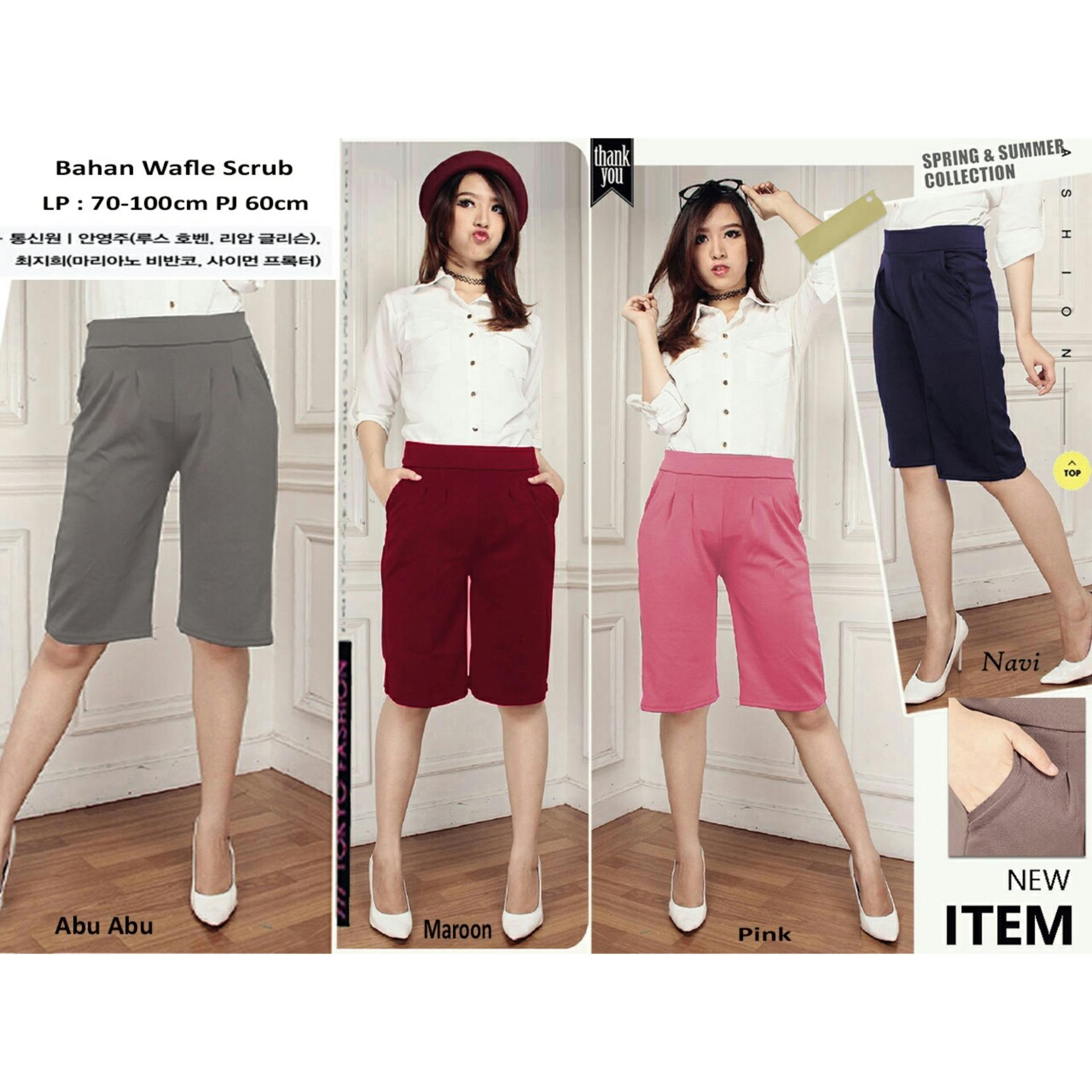 168 Collection Celana Kulot Diara Short Pant-Abu ส่วนลด -52% ผู้ขาย Ach
