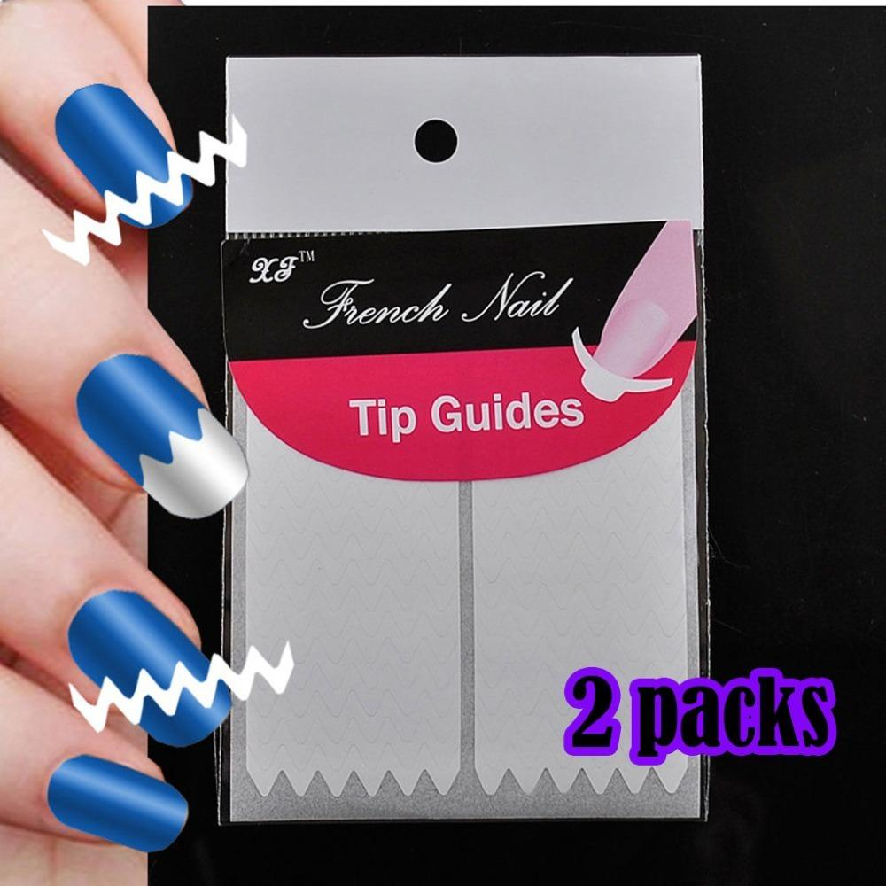 DIY French Nail Art Tip Guide sticker stiker kuku manicure pedicure zigzag shape wave 2pack terlaris