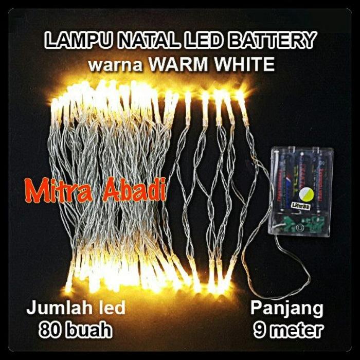 Lampu Natal LED Warm White Baterai/Batre A2 Panjang 9 Meter