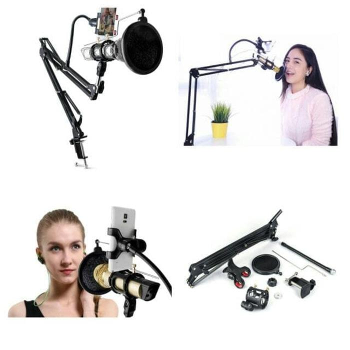 Condenser Microphone & Phone Stand Holder 360 Degree for Recording