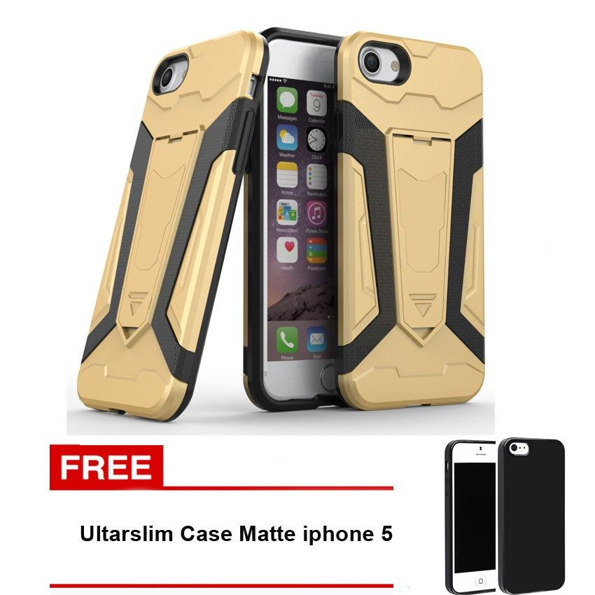 Case Transformer Kickstand Slim Armor Hardcase for Iphone 5 / 5s + Free Ultraslim Case Matte
