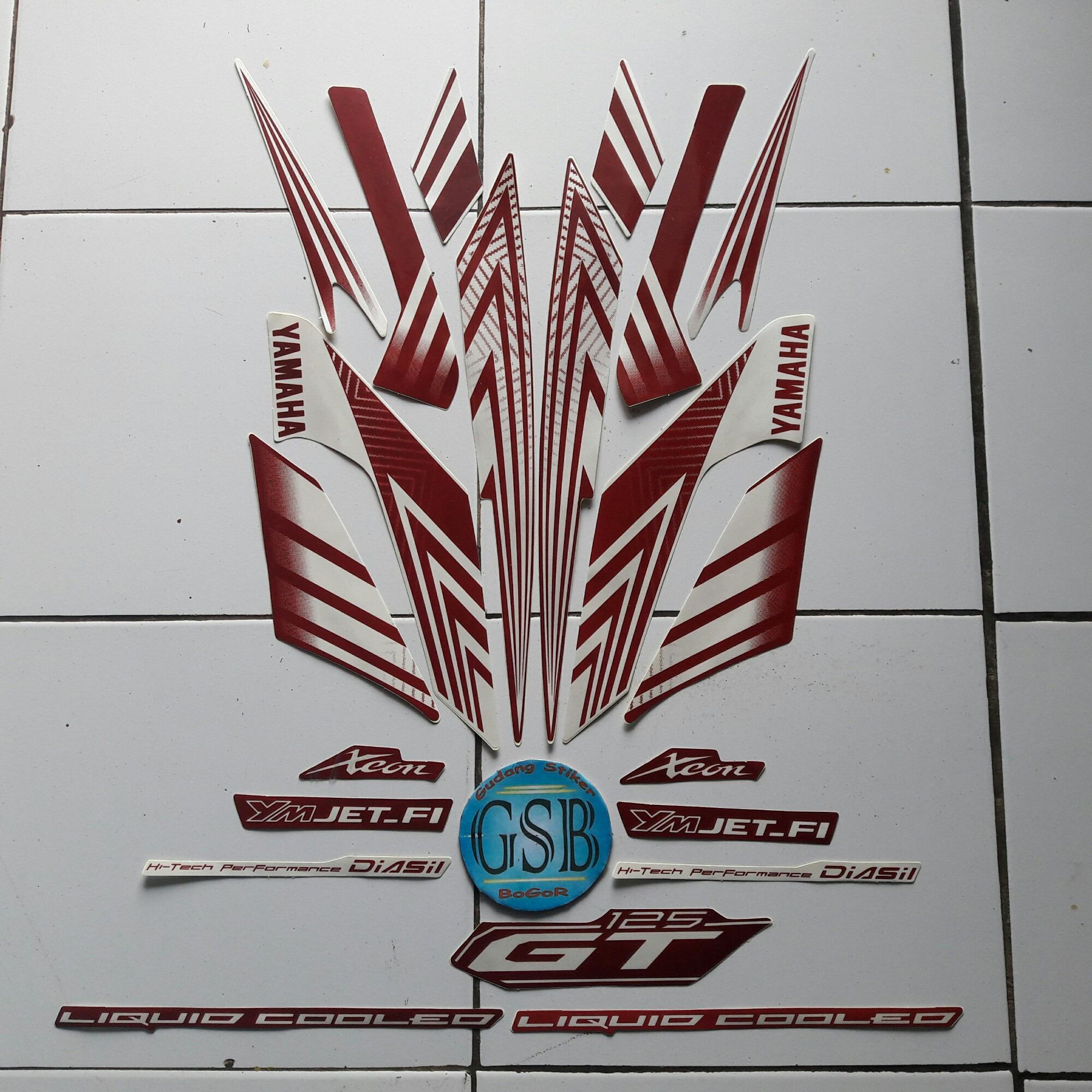 Stiker Striping Motor yamaha xeon gt 125 merah-Putih