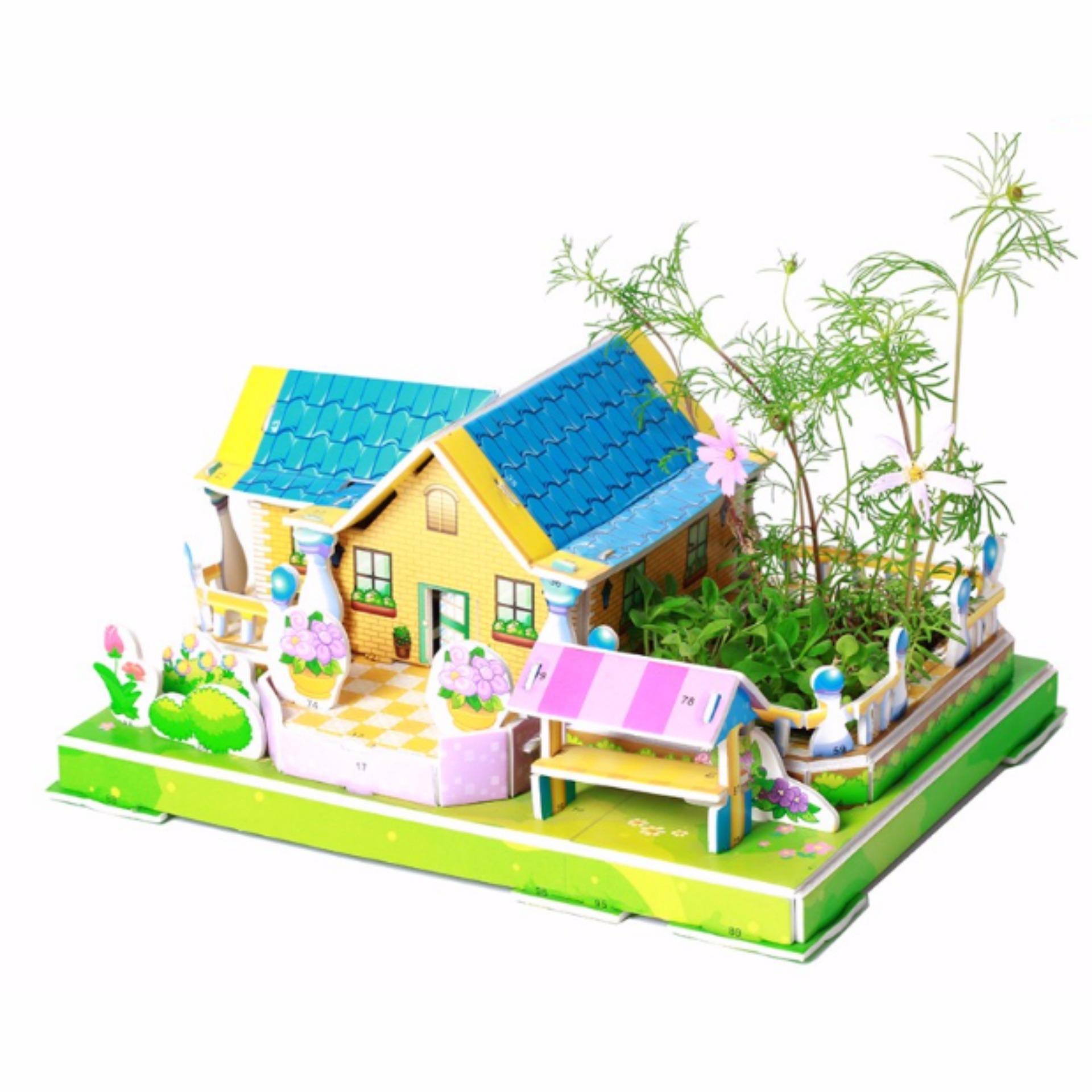 Lynx Zilipoo 3D Building Planting Puzzle DIY Educational Kid Toys Mainan Anak Mari Bertanam - Stylish Villa