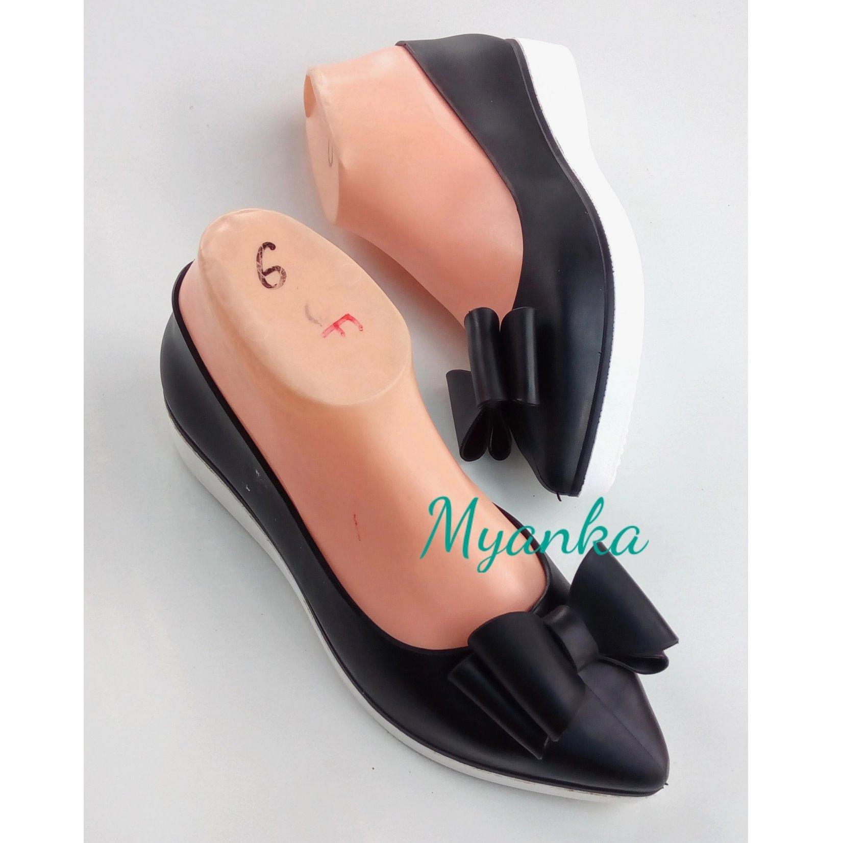 Myanka Jelly Shoes Lancip Acelly Pita - Sepatu Wanita -