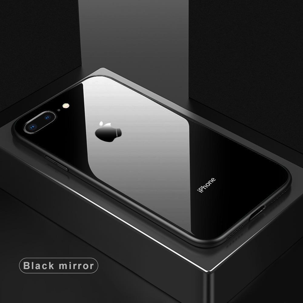 Tempered Glass Case Iphone 7 Plus / 7+ Premium Soft Hard Casing Kaca - BLACK