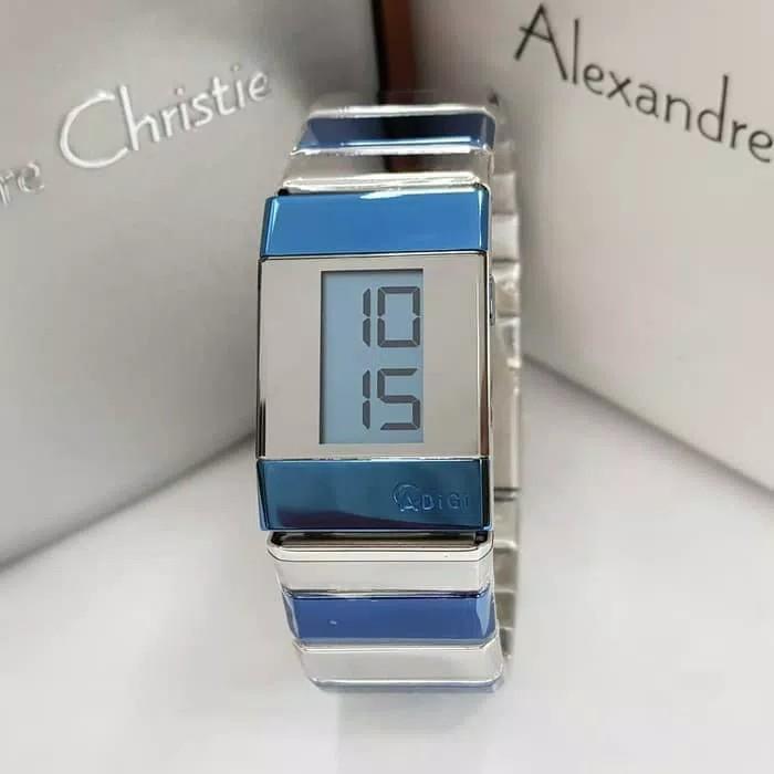 Jam Tangan Wanita Alexandre Christie AC 9100 Digital Silver Blue Original