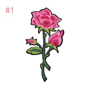 Rose Embroidered Sewing On Patch Flower Stickers For Clothes Applique #1: 27.2x13.