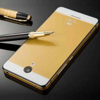 Aluminium Tempered Glass Hard Case for Xiaomi Redmi Note 2 - Golden