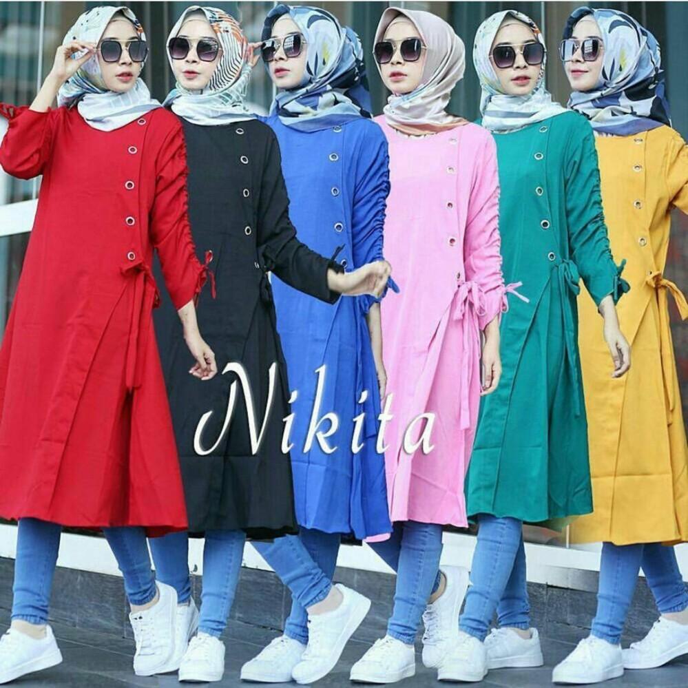 Baju Original Nikita Tunik Balotelly Baju Atasan Wanita Muslim Panjang  Pakaian Kerja Santai Casual c85a3970d3