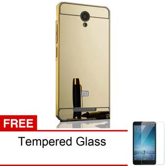 Calandiva Xiaomi Redmi Note 2 Mirror Backcase with Metal Bumper - Gold + Gratis Tempered Glass