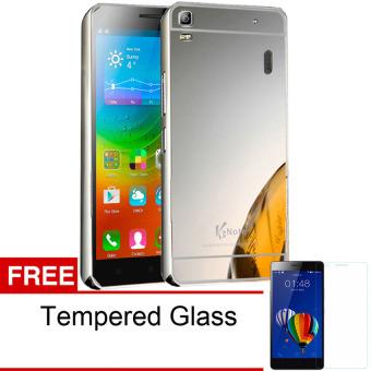 Case For Lenovo A7000 / A7000+ Bumper Slide Mirror - Silver + Free Tempered Glass