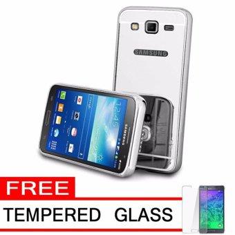Case Metal for Samsung Galaxy J2 Prime Aluminium Bumper With Mirror Backdoor Slide - Silver +