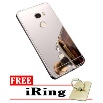 Case Metal for Xiaomi Redmi 4 Aluminium Bumper With Mirror Backdoor Slide - Silver + Free