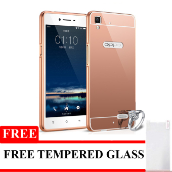 Case Untuk Oppo F1 Selfie Expert Alumunium Bumper With Mirror Backdoor Slide - Rose Gold +