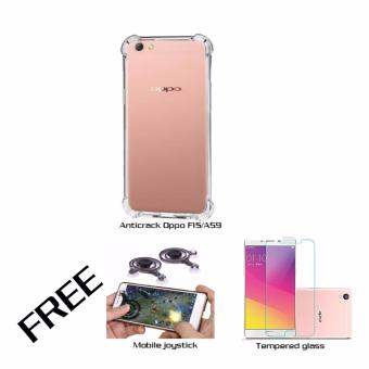 Casing Anticrack Oppo F1S/A59 Clear Free Mobile Joystick & Tempered glass Oppo F1S/