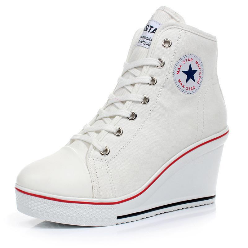 Cewek Sepatu Wanita Sepatu Hak Tinggi Atas Baji Renda Up Her Kets Kanvas 8 Cm H