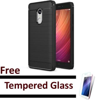 EastJava ipaky shockproof hHybrid Back Case for Xiaomi Redmi Note 4 Black Free Tempered Glass