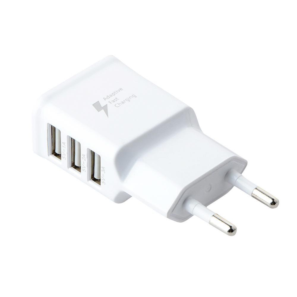 EU Plug 3-Port USB 5V 1A 2A 3A Wall Home Travel AC Fast Charger