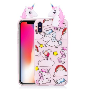 For iPhone X Unicorn Pattern TPU Protective Case Back Cover with 3D Pink Unicorn Doll -