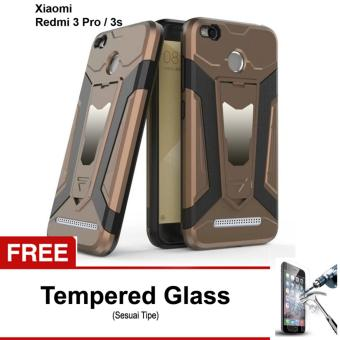 Free Tempered Glass Case Transformer Kickstand Slim Armor Hardcase for Xiaomi Redmi 3 pro / 3s