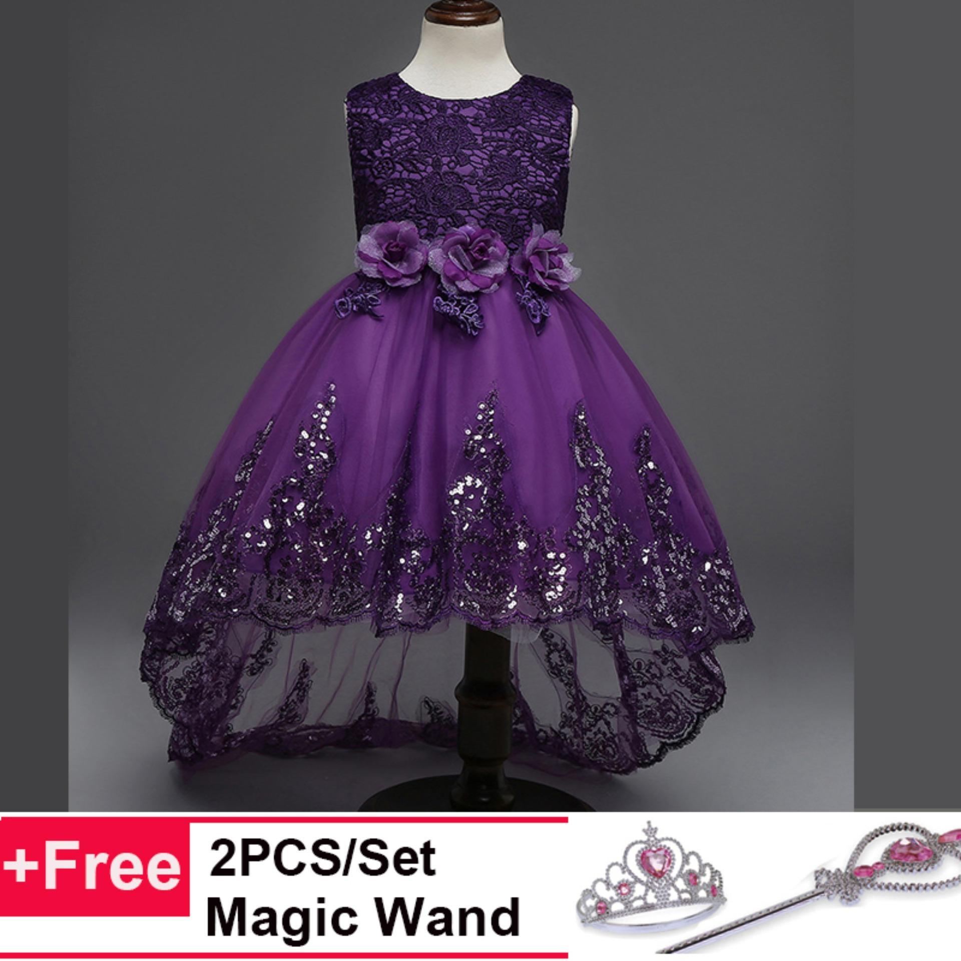 Gadis Bunga Putri Gaun untuk Pesta Pernikahan Bridesmaid Kids Bow Trailing Renda Tulle Tutu Dress-