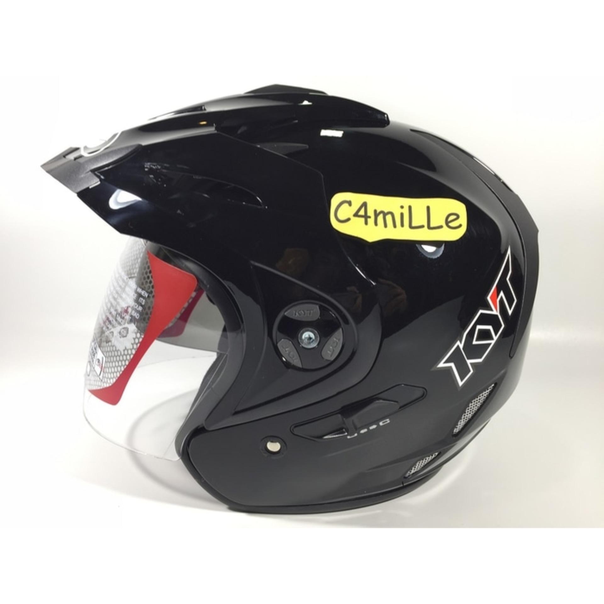 Helm KYT Venom Rr Solid Black Double Visor Half Face